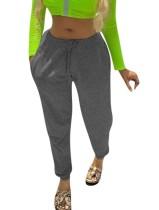 Pantalon de survêtement à cordon de couleur unie
