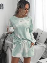 Conjunto de pijama de dos piezas de manga larga con efecto tie dye