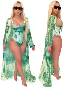 Print One Piece Swimwear with Matching Cover Up
