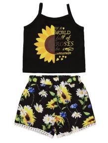 Crianças menina verão duas peças Floral Short Set