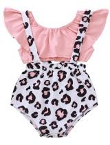 Baby Mädchen Sommer zweiteilige Leopard Suspender Short Set