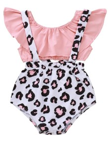 Baby Girl Summer Two Piece Leopard Suspender Short Set