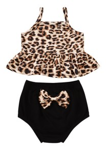 Baby Girl Summer Two Piece Leopard Short Set