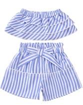 Set corto per bambina a strisce due pezzi estate