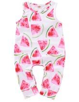 Baby Girl Summer Print Macacão sem mangas Macacão