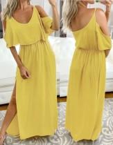 Vestido longo de fenda de sobreposição amarela de verão