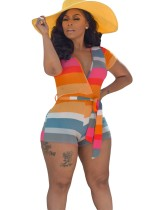 Summer Wide Stripes Wrapped Bodycon Rompers