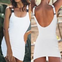 Vestido sin mangas blanco con espalda baja sexy
