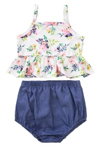 Baby Girl Summer Floral Top and Denim Shorts