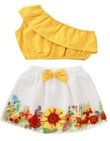 Kids Girl Summer White and Yellow Two Piece Skirt Set