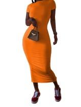 Verão cor lisa Sexy Midi Dress