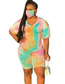 Summer Casual Two Piece Tie Dye Short Set