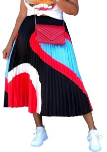 African Pleated Contrast Maxi Skirt
