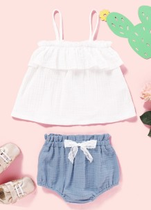 Baby Girl Summer White Straps Shirt and Blue Shorts