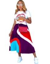 Sommer Casual Print Shirt und Plissee Maxirock