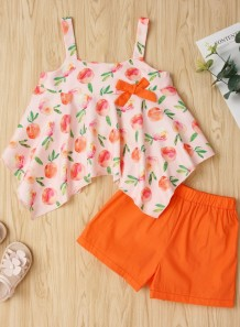 Kids Girl Summer mooie print top en effen shorts
