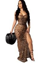 Cintas de leopardo sexy fenda vestido longo
