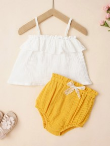 Baby Girl Summer White Straps Shirt and Yellow Shorts