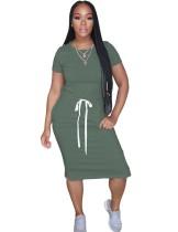 Summer Casual Drawstring Long Shirt Dress