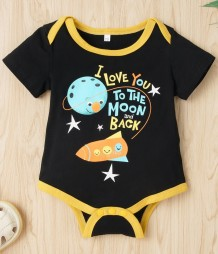 Baby Boy Summer Print Black Rompers
