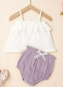 Baby Girl Summer White Straps Shirt and Purple Shorts