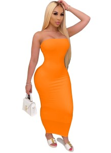 Solid Color Sexy Strapless Midi Dress