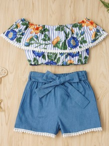 Kids Girl Summer Floral Top and Denim Shorts