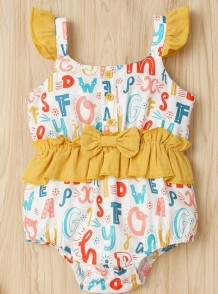 Baby meisje zomer ruches print rompertjes