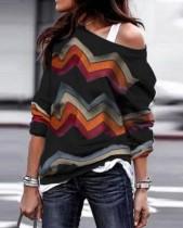 Chemise ample ondulée multicolore décontractée à manches