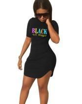サマープリントブラックシャツドレス
