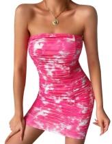 Vestido tubo sexy acanalado con efecto tie dye de verano