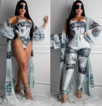 Sexy print driedelige bodycon broek set
