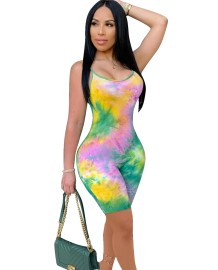 Sexy Tie Dye Straps Bodycon Rompers