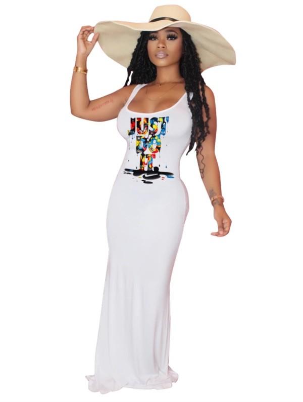 Vestido informal largo sin mangas con estampado de verano