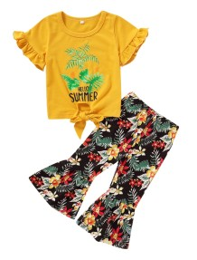 Kids Girl Summer Print Flare broek set