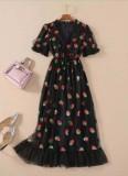 Summer Black Strawberry Abendkleid mit V-Ausschnitt