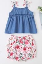 Летняя джинсовая рубашка и шорты с цветочным принтом Kids Girl
