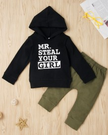 Kids Boy Autumn Black Hoody und Green Pants