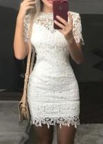 Sommer weißes Spitze Minikleid
