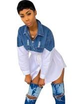 Vestido casual con blusa superior de mezclilla en contraste