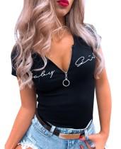 Summer Print Black Zipper Shirt