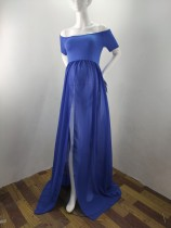 Summer Maternity Blue Off Shoulder Wedding Dress