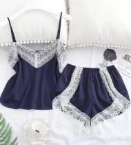 Conjunto de pijama corto de dos piezas con adornos de encaje sexy