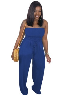 Solid Color Sexy Strapless Loose Jumpsuit
