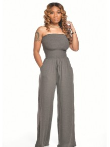 Sexy Strapless Sheer Loose Jumpsuit