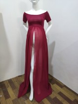 Summer Maternity Red Off Shoulder Wedding Dress