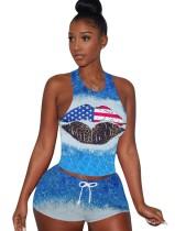 Sommersport Zweiteiliges Tie Dye Shorts Set
