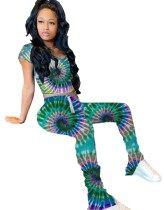 Summer Tie Dye Zweiteiliges Legging-Set
