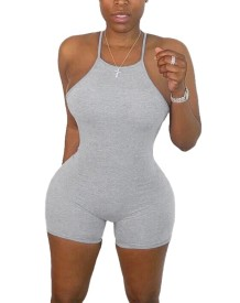 Sexy Solid Color Sports Halter Bodycon Rompers