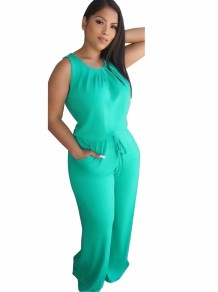 Summer Solid Color Sleeveless Leisure Jumpsuit